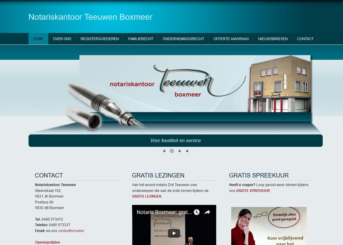 Website Notariskantoor Teeuwen Boxmeer